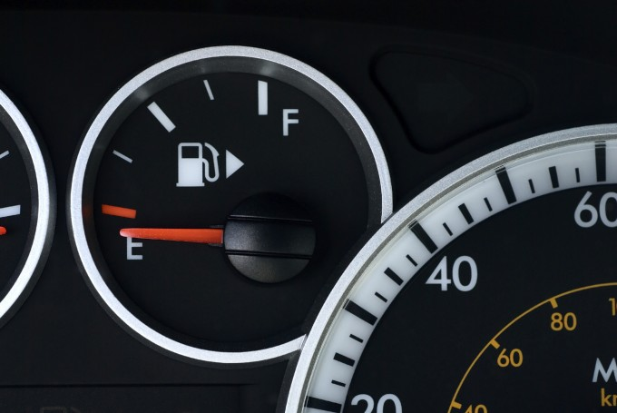 A car's fuel gauge